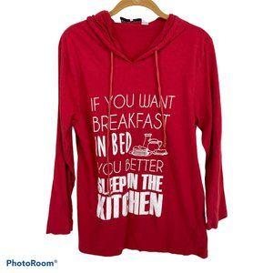 Jeffrey Banks Red Long Sleeve Hoodie Sweater M